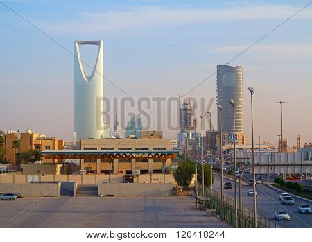 RIYADH - FEBRUARY 29: Kingdom tower on February 29, 2016 in Riyadh, Saudi Arabia. Kingdom tower is a business and convention center, shoping mall and one of the main landmarks of Riyadh city