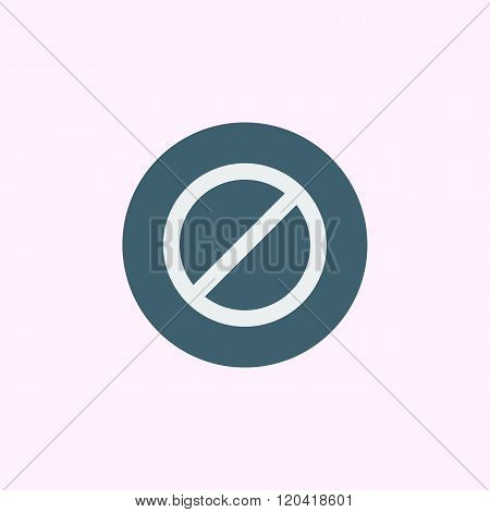 No Entry Icon, On Blue Circle Background, White Outline