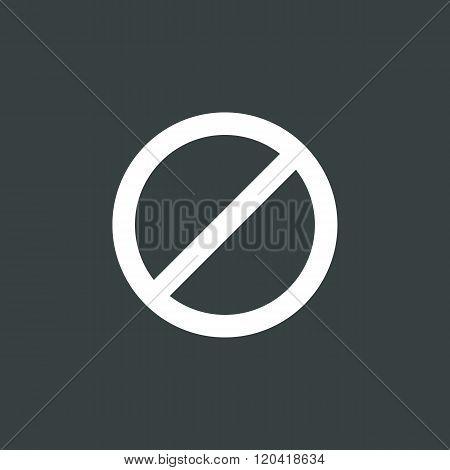 No Entry Icon, On Dark Background, White Outline, Large Size Symbol