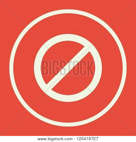 No Entry Icon, On Red Background, White Circle Border, White Outline