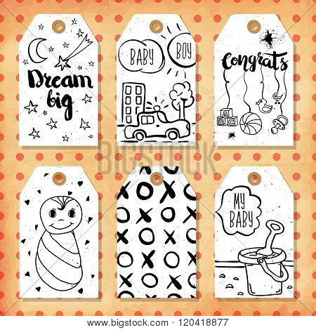 A Collection Of 6 Creative Handmade Gift Tags To Set The Mood.congratulations On The Birth Of A Boy