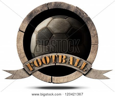 Wooden Symbol With Soccer Ball