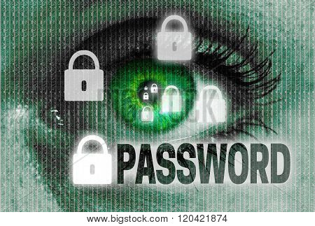 Password Eye Looks At Viewer Concept
