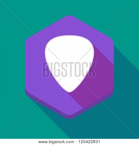 Long Shadow Hexagon Icon With A Plectrum