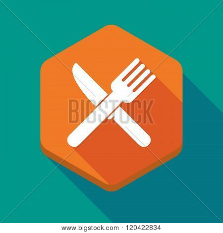 Long Shadow Hexagon Icon With A Knife And A Fork