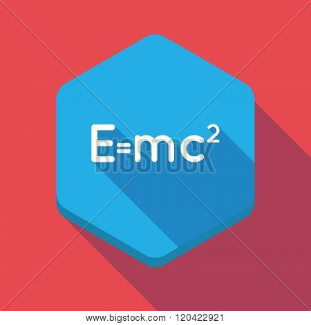 Long Shadow Hexagon Icon With The Theory Of Relativity Formula