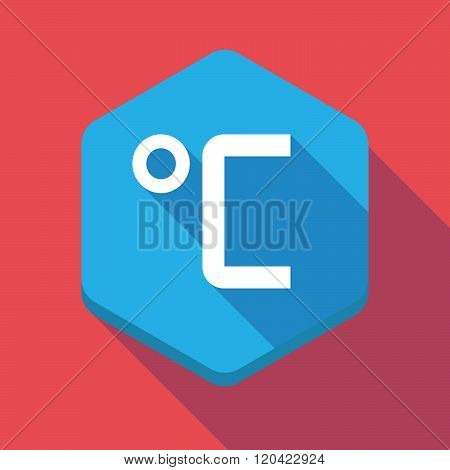 Long Shadow Hexagon Icon With  A Celsius Degree Sign