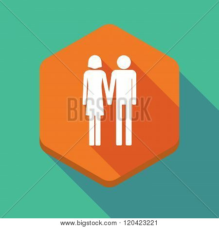 Long Shadow Hexagon Icon With A Heterosexual Couple Pictogram
