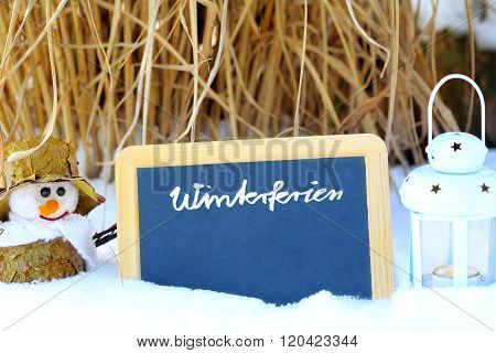 Winter Holidays, Blackboard, Snowman, Lantern