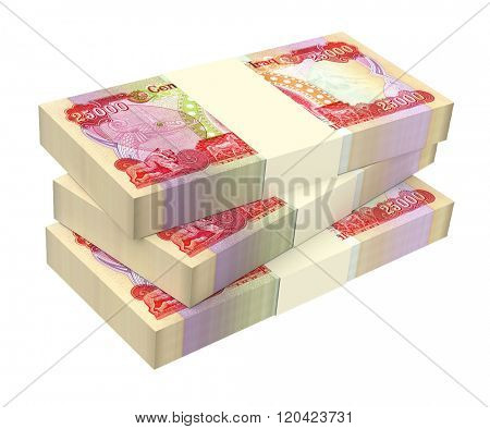 Iraqi dinars bills isolated on white background. Computer generated 3D photo rendering.