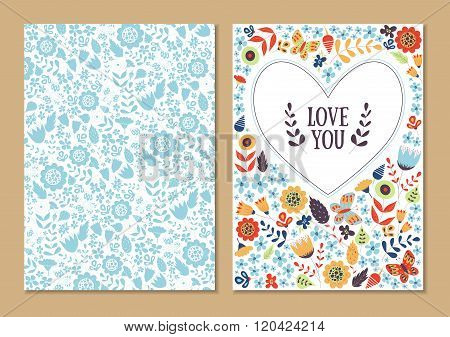 Cute Vintage Floral Cards Set