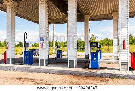 Filling The Column With Different Fuels At The Gas Station Surgutneftegas. Surgutneftegas Is One Of