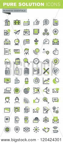 Thin line icons set of business, office supplies and equipment, social network