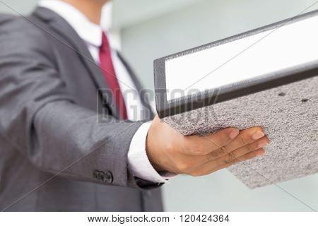 Businessman Receive Document Files