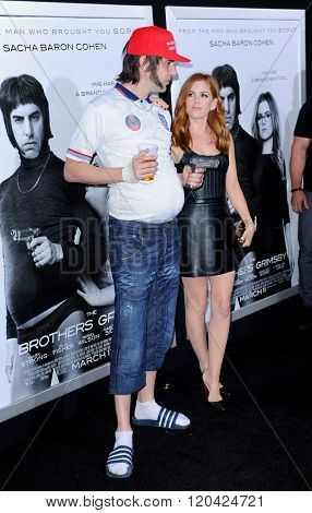Sacha Baron Cohen and Isla Fisher at the Los Angeles premiere of 'The Brothers Grimsby' held at the Regency Village Theatre in Westwood, USA on March 3, 2016.