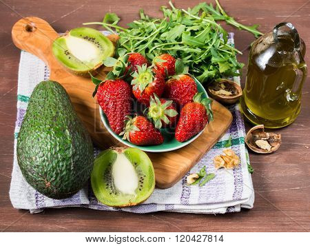 Ingredients for avocado salad