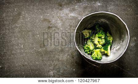 Resh Green Broccoli In The Old Pot.