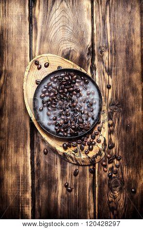 Fresh Roasted Coffee In The Pan.