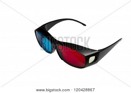 3D Stereo Glasses Anaglyph On A White Background