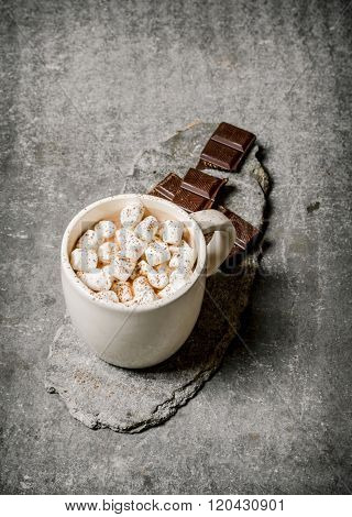 Hot Chocolate With Marshmallows And Bitter Chocolate.