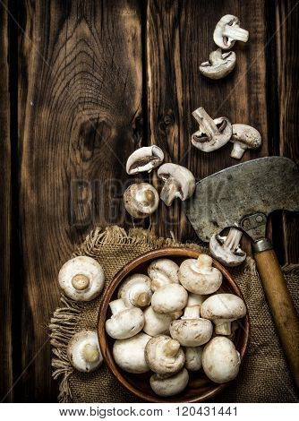 Fresh Mushrooms With An Old Hatchet.