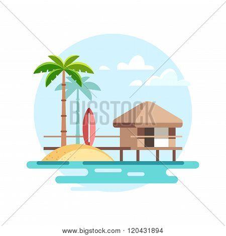 Tropical Landscape with Bungalow
