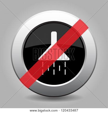 Gray Chrome Button - No Shower