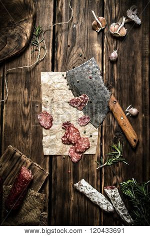 Salami With An Old Hatchet, And Different Spices.