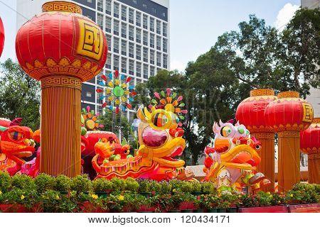 HONG KONG, HONG KONG - SEPTEMBER 22: Park with traditional decoration dragon for chinese holiday. Hong Kong on September 22, 2012