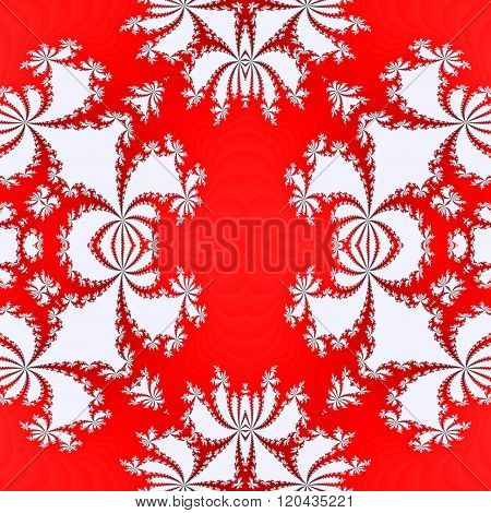 Abstract white fractal orchid seamless pattern on red background