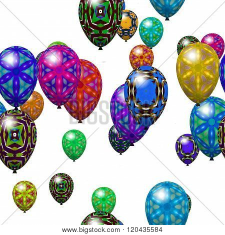 Decorative party air balloons isolated on white background - seamless pattern