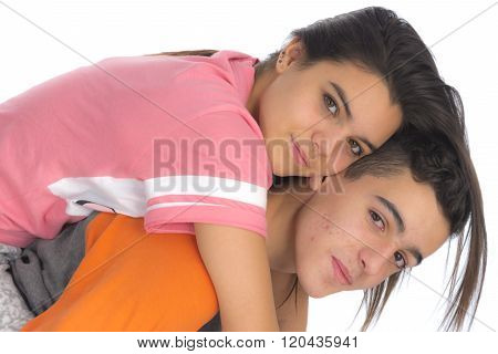 Funny Teen Couple, Smiling Newly  Wake Up And Dressed In Their Pajamas V