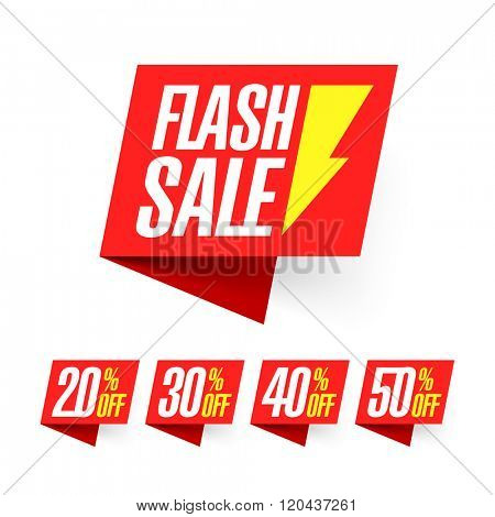 Flash Sale, deal of the day labels vector illustration