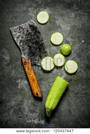 Sliced Fresh Zucchini Old Hatchet.