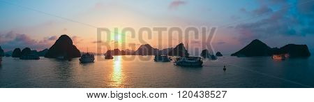 Beautiful sunset in Halong Bay, panorama