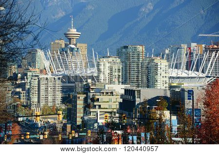 Vancouver city skyline and Harbour Centre Tower