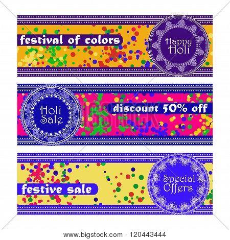 Vector Set Of Banners For Holi Festival. Happy Holi, Holi Sale. Design For Celebration