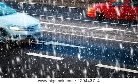 Cars Going Along The Crossroads In Bad Weather