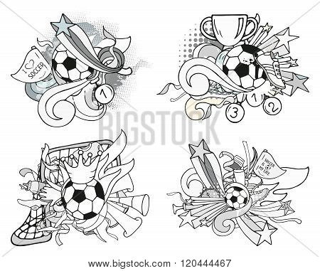 Doodle Grayscale Soccer Compositions With Sport Objects And Decoration Elements