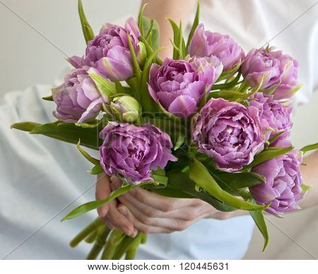 Bunch Of Flowers In Woman's Hands