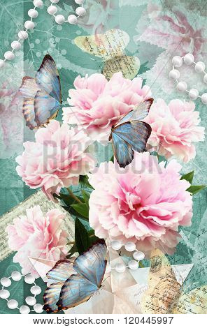 Postcard flower. Congratulations card with peonies butterflies and pearls. Beautiful spring pink flower. Can be used as greeting card invitation for wedding birthday and other holiday happening.