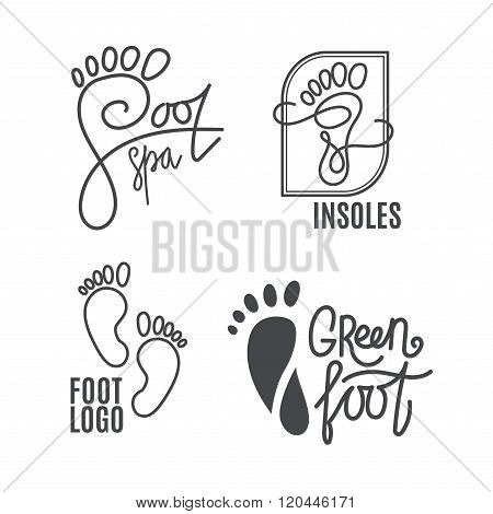 Foot Silhouette. Health Center Logo, Orthopedic Salon. Sign Bare Foot.