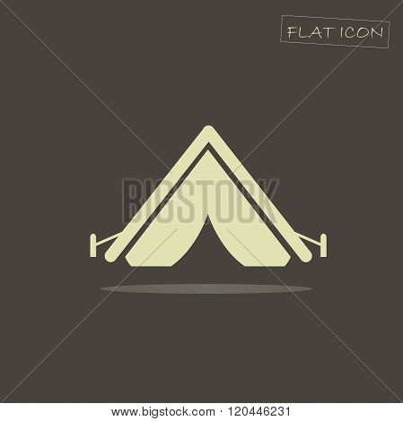 Flat icon of a tent. Light  tent on a dark background. Icon vector
