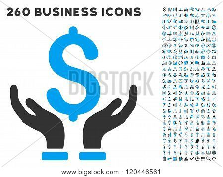 Financial Insurance Hands Icon with Flat Vector Set