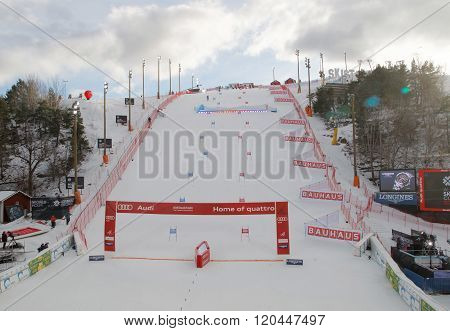 Slalom Slope With Colorful Red And Blue Gates