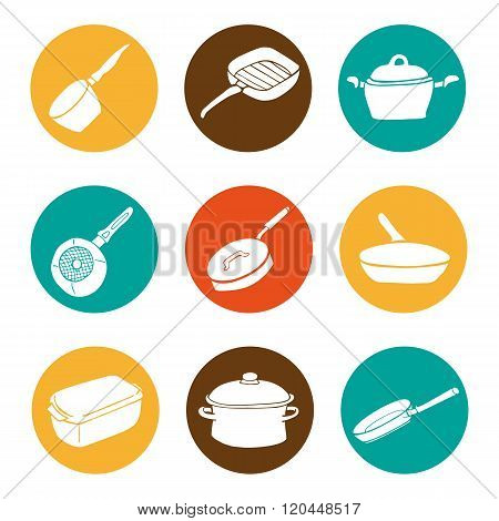 Colorful Kitchen Doodle Cookware Flat Icons Set