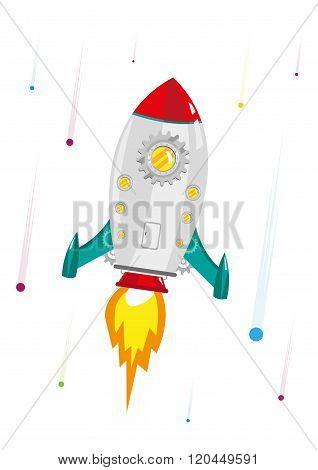 Rocketship Gear hyperspeed burst up to the galaxy . Editable Clip Art.