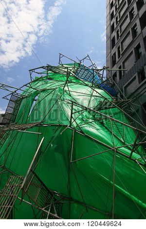 The Collapsed Scaffolding In Taipei Street
