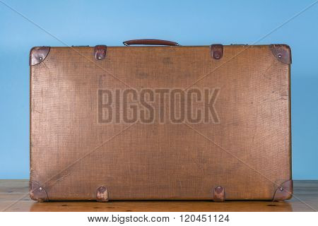 Vintage old brown case. retro briefcase