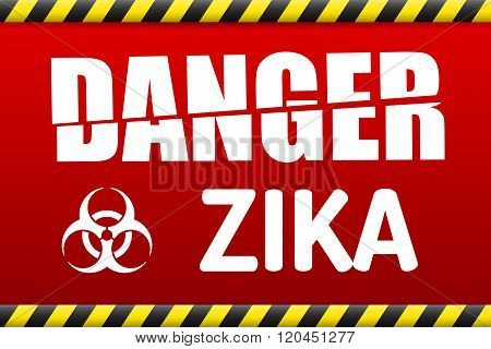 Zika Virus Danger Sign With Reflect.
